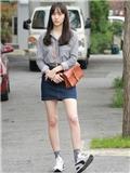 对我而言可爱的她Krystal服装搭配 衬衫mix高腰牛仔裙清纯无敌