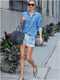 杨幂少女时代米兰达可儿街拍LOOK 牛仔衬衫mix牛仔裤帅气难挡