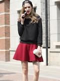 黑色毛衣搭配什么裙子,黑色毛衣搭配图片女生