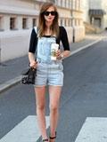 夏末初秋时尚街拍图 牛仔背带裤搭配酷帅