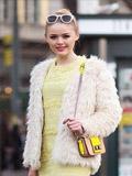 皮草外套+菱格链条包包 简约搭配轻奢过冬