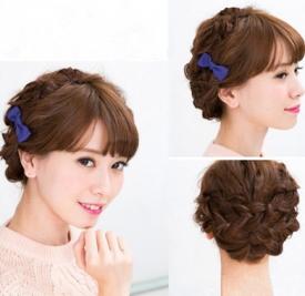 头发怎么盘简单好看 三股辫盘发+蝴蝶结发夹搭配超美腻