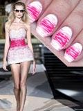 夏季新款DIY美甲教程 粉色不规则条纹甜美可人