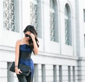 Wendy Nguyen:蓝色抹胸连身裤缔造小腰精
