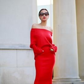 Nini Nguyen:带你看当红单品毛线裙如何穿