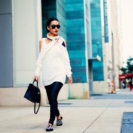 Nini Nguyen:皮裤白裙休闲就是这样简单